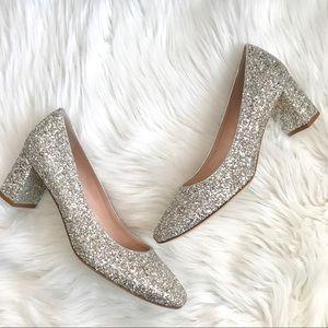 NEW Kate Spade Dolores Silver Glitter block heels